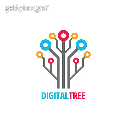 Digital tree icon design. Computer network sign. Data electronic graphic symbol. Internet icon. Software & hardware concept symbol. Connection technology. Electronic brain education. Website structure