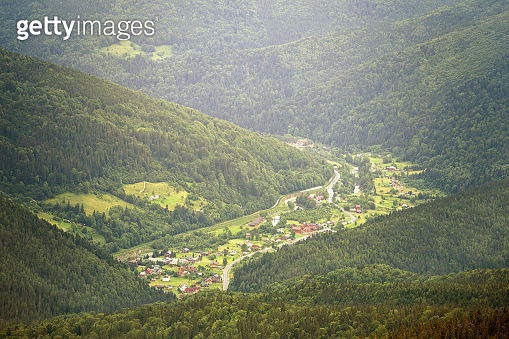 Village in a mountain valley. Carpathian mountains