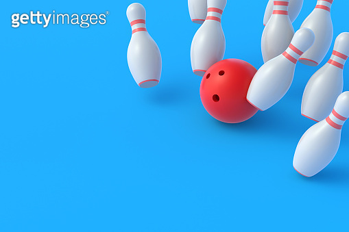 Red bowling ball crashing white falling pins on blue background. Active sport. Hobby and leisure. Competition and championship. Win and success concept. 3d rendering