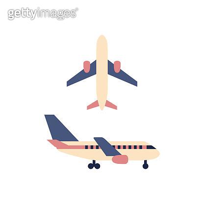 Plane icon isolated on white background. Color flat airplane sign or logo design. Travel symbol set. Flight aircraft transportation aviation concept. Minimal vector illustration.