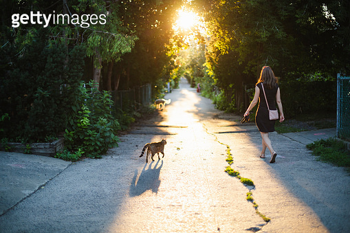 Woman walking in an alley at sunset