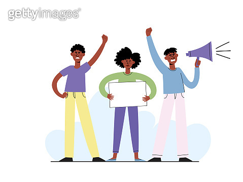 Vector concept with afro american people on demonstration