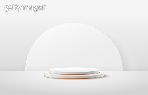 Abstract round display for product on website in modern. Background rendering with podium and minimal white gold texture wall scene, Luxury 3d rendering geometric shape white color. Vector EPS10