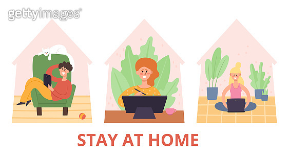 Stay at home vector illustration, people working on laptop computer