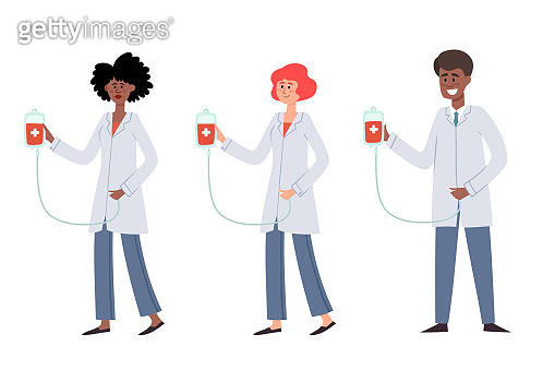 Vector set of blood donation concept with people in flat style.