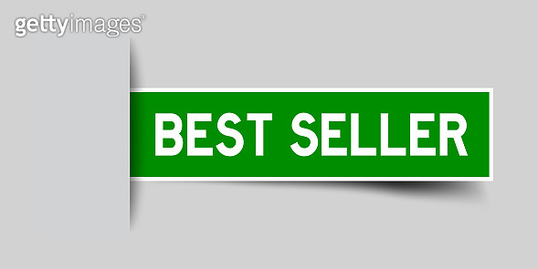 Label sticker green color in word best seller that inserted in gray background