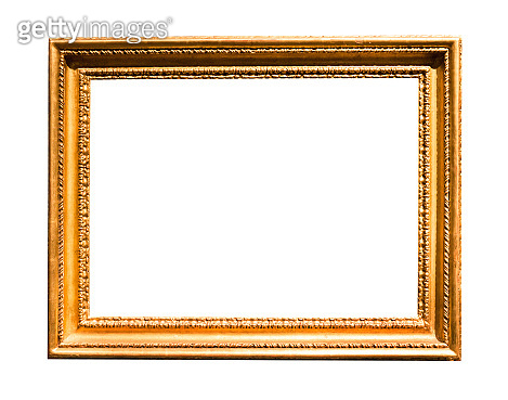 horizontal wide old wooden picture frame isolated