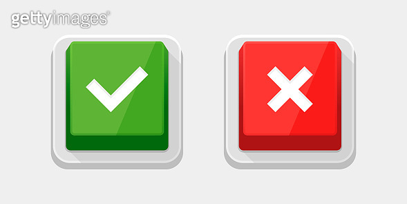 Check Mark Stickers and Buttons. Red and Green. Vector.