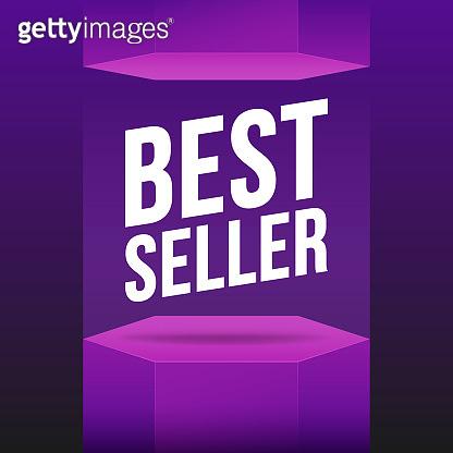 Podium best seller violet mockup. Vector flat illustrations. Scene, pedestal and 3D platform.