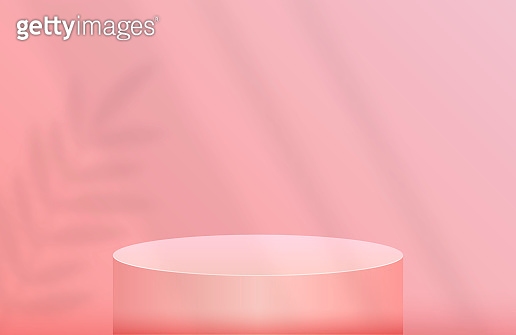 Podium for product presentation in pastel pink color with shadow sheet. Vector flat illustrations.