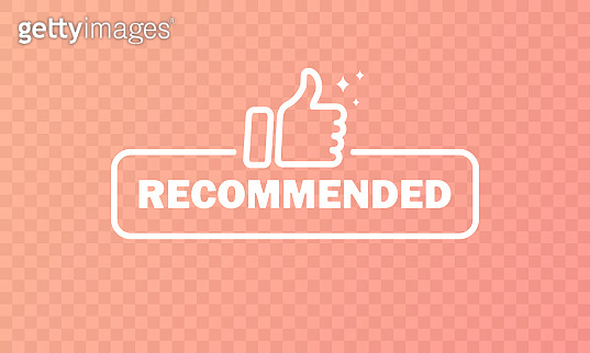 Recommended button. With thumb up sign. Vector EPS 10. Isolated on transparent background