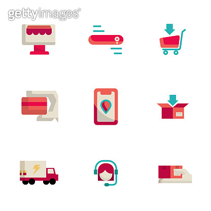 online shopping and delivery icons