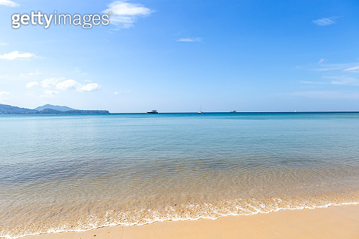 Clean sea water and fine sand beach, summer outdoor day light