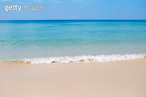 Beautiful clean beach with clear blue sky on tropical island in South of Thailand