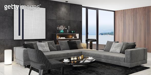 Luxury modern black interior living room with big artwork on the black stone wall