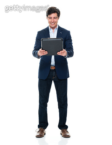 Caucasian young male business person standing in front of white background wearing businesswear and holding contract