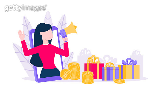 Loyalty program flat style design vector illustration concept. Woman with megaphone loud speaker standing up in the smartphone and shout out to the people. Refer a friend program.
