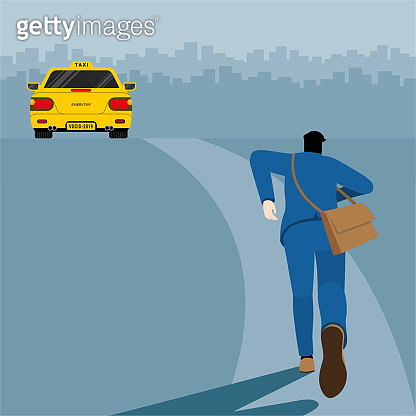 Urgent lifestyle concept. Back view of business man running to grab the taxi. Hurry up in rush hour to be on time of professional occupation. Square vector illustration flat style minimal design.
