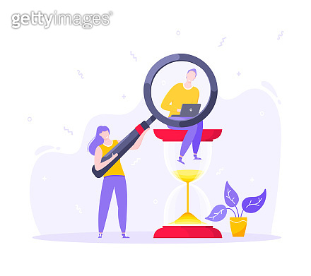 Time management business concept metaphor. Tiny persons with megaphone and magnifying glass. Work planning and multitasking organization concept flat design vector illustration.