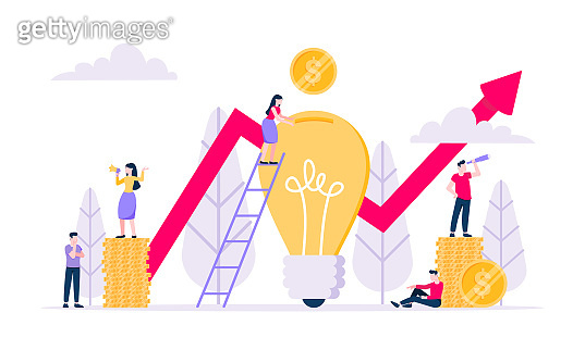 Crowdfunding composition concept of fundraising. US coins money currency, light bulb and red arrow with tiny people characters flat style design vector illustration isolated white background.
