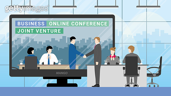 Online business partner concept. Joint venture in teleconference meeting room from workplace to another office. Greeting businessman handshake with team agreement clapping hand employee.