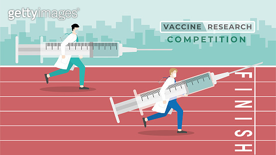 Medical concept. Vaccine research competition. A doctor carry big syringe run in race track with the other doctor to reach the finish line for get the vaccine first. International medicine contest.