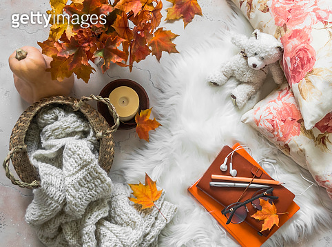 Basket with knitted blanket, bouquet of maple leaves, pillows, books, candle, toy bear on a fluffy carpet, top view. Cozy autumn house interior concept