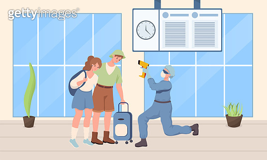 Doctor in protective suit checking temperature of travelers vector flat illustration.