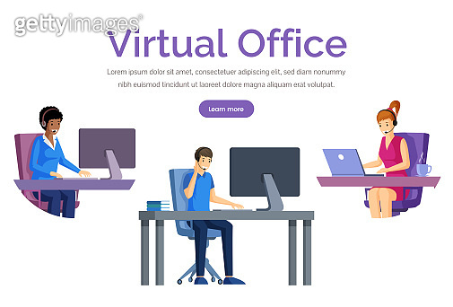 Virtual office web banner vector template. Support, distant work, freelance web page design.