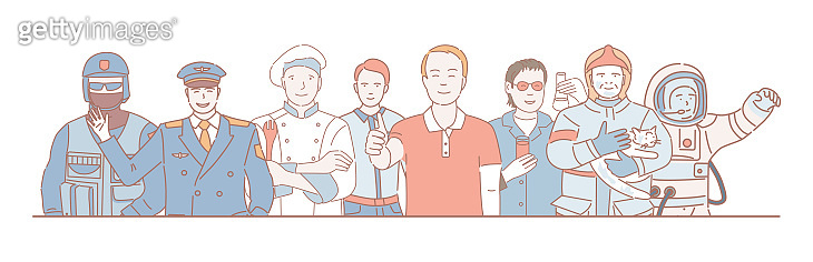 Labor Day vector cartoon outline concept. Police officer, pilot, cook, office worker, chemist, lifeguard, and astronaut.