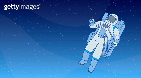 Cosmonaut in a spacesuit with space equipment. Cosmic science banner design