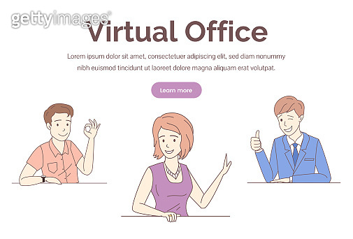 Virtual office web banner vector template. Training, distant work, freelance web page design.