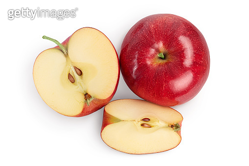 Red apple with half isolated on white background with clipping path and full depth of field. Top view. Flat lay.