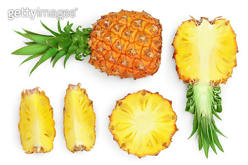 pineapple isolated on white background with clipping path and full depth of field. Top view. Flat lay