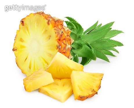 pineapple half and slices isolated on white background with clipping path and full depth of field