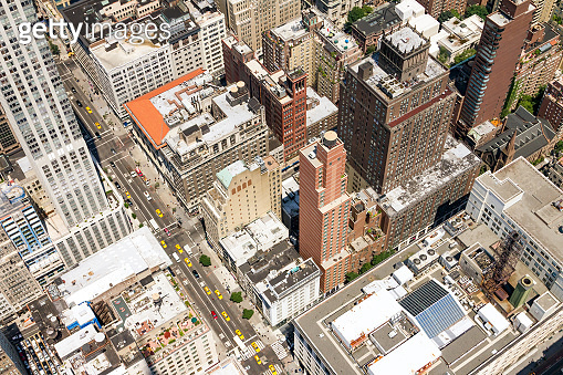 Overhead view of taxis in rush hour traffic on 5th Avenue in Midtown Manhattan, New York City