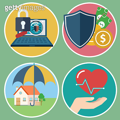 Insurance concept set for home insurance, health insurance, business and data risk insurance.