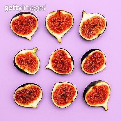 Fresh sweety figs. Minimal flat lay fruits raw creative art