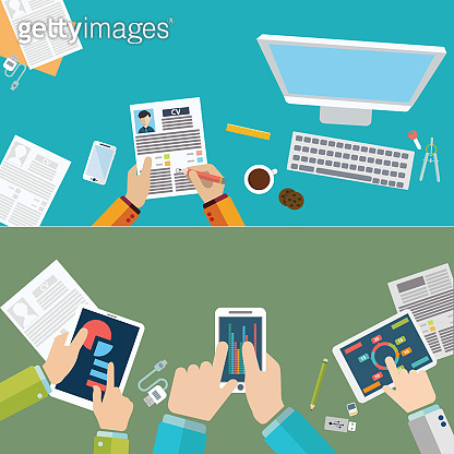 Set of flat design illustration concepts for business, finance, consulting, management, human resources, business analysis and planning. Concepts for web banner and printed materials.