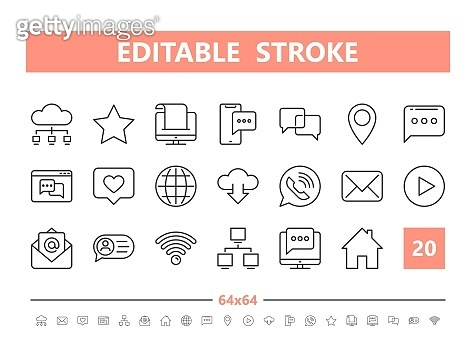 Internet communication 20 line icons. Vector illustration in line style. Editable Stroke, 64x64, 256x256, Pixel Perfect.