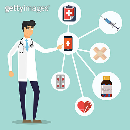 Healthcare and Medical concept background. Icons of medical tools and health care equipment, science research and health treatment service. Abstract medicine background. Vector illustration.