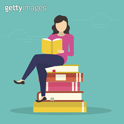 young woman sitting in many books and reading interesting book. Flat design for libraries, education and exam preparing - Vector