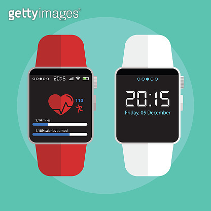 Smart watch new technology electronic device with apps icons flat design vector illustration.