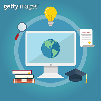 Set of flat design illustration concepts for online education. Education and science concept illustrations