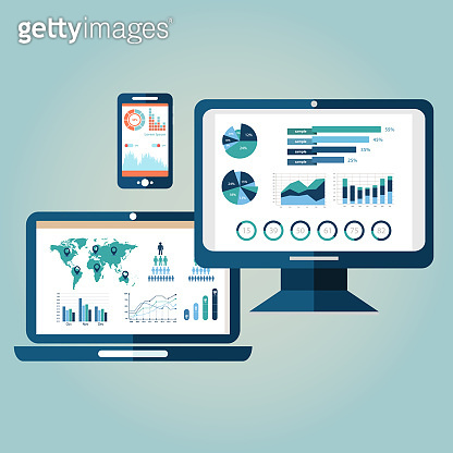 Flat design modern vector illustration concept of website analytics search information and computing data analysis using modern electronic and mobile devices. Isolated on stylish background