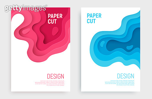 Paper cut banner set with 3D slime abstract background and blue, pink waves layers. Abstract layout design for brochure and flyer. Paper art vector illustration