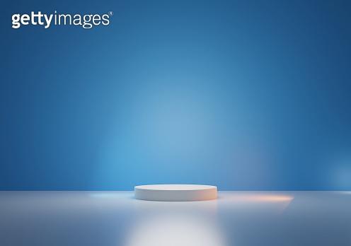 Round podium or pedestal with blue background