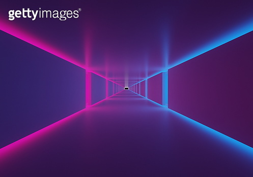 Futuristic tunnel 3d render with Neon Lights