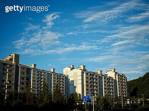 Korean downtown apartments and sky and clouds