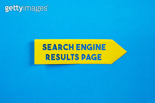Yellow Sticky Paper With Search Engine Result Page Message On Blue Background